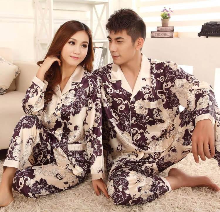 Pre Order ชุดนอนคู่รัก ทำจากผ้าไหม ดีไซน์เรียบหรู เสื้อแขนยาว+กางเกงขายาว สีตามรูป