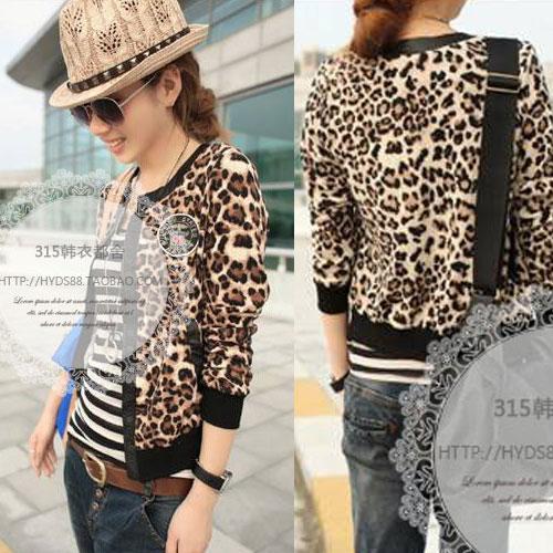 ++สินค้าพร้อมส่งค่ะ++ เสื้อ cardigan เกาหลี แขนยาว ติดกระดุมด้านหน้า ผ้าลายเสือ แต่งขอบรอบตัวเสื้อด้วยผ้าคล้ายหนัง – สี Leopard