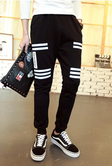 Pre Order กางเกงวอร์มขายาวใส่เล่นฟิตเนส ดีไซน์เท่ห์ แต่งด้วยแถบสีขาว มี2สี