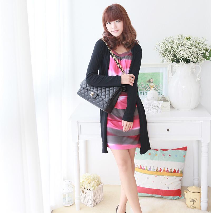 ++เสื้อผ้าไซส์ใหญ่++ Pre-Order Set 2 ชิ้น เดรสผ้าสแปนเด็กซ์ไซส์ใหญ่ ลายทางโทนสีชมพูเทา ตัดต่อผ้ายืดแขนยาวสีดำ+เข็มขัดไนล่อนตามแบบค่ะ
