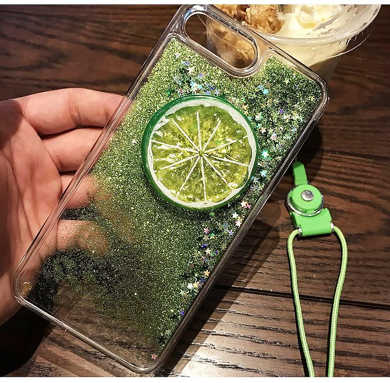 เคสไอโฟน 7/7Plus/6/6S/6Plus เคสพลาสติกมะนาวซีกกากเพชรมีเชือกคล้อง iPhone7/7Plus/6/6S/6Plus Case