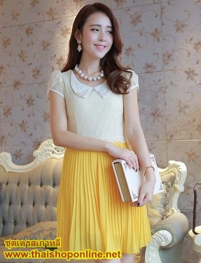 ชุดเดรสออกงาน น่ารัก แฟชั่นเกาหลี สีเหลือง เสื้อผ้าลูกไม้อย่างดี คอปกประดับมุก แขนกุด กระโปรงพลีทบาน ซิปข้าง มีซับใน ใส่ออกงานสวยมากๆครับ (พร้อมส่ง)