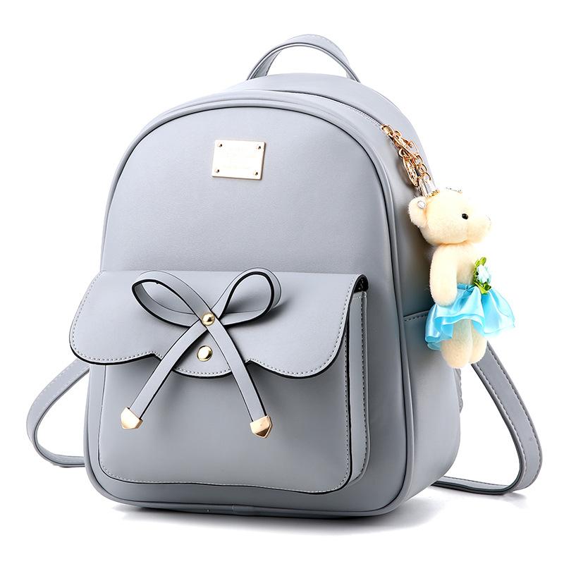 Pre-order กระเป๋าเป้สะพายหลัง ผู้หญิง ผูกโบว์ แฟชั่นเกาหลี รหัส Yi-369 สีเทา *แถมตุ๊กตาหมี