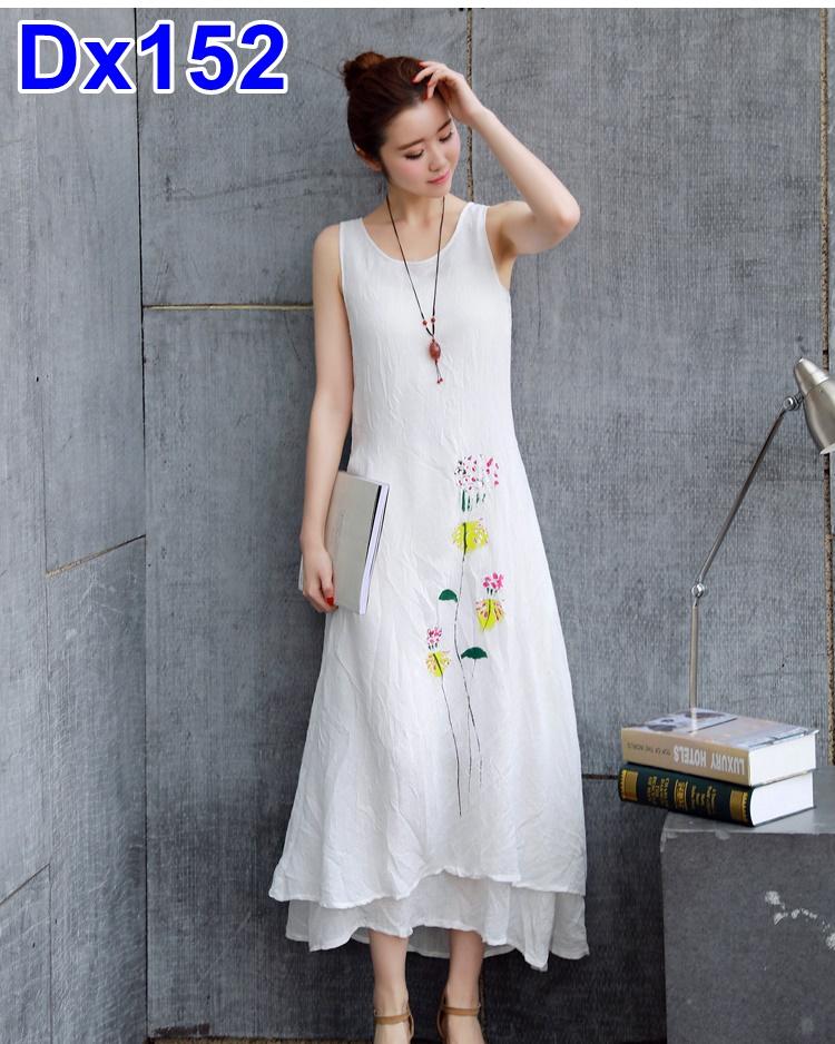 #Dressกระโปรงผ้าฝ้าย สีขาว แขนกุด พิมลายดอกไม้ข้างลำตัว ผ้าเนื้อดีใส่สบายไม่บาง รููปทรงน่ารักมากค่ะ