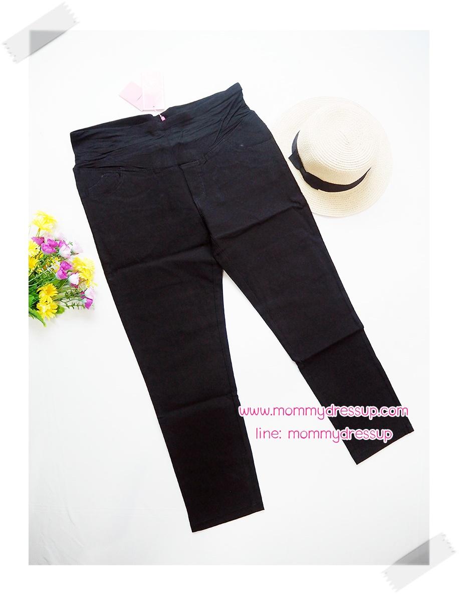 กางเกงยีนส์ขายาวสีดำ กระเป๋าหลังตัดเว้า เอวมีสายปรับระดับได้
