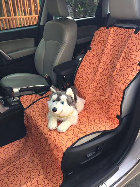 ผ้ารองเบาะรถยนต์สำหรับสุนัข ด้านหน้า ปูเต็ม สีส้มลายเมฆ