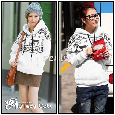 เสื้อกันหนาวแฟชั่นเกาหลี พิมพ์ลายกวางแบบสวม มีฮูด