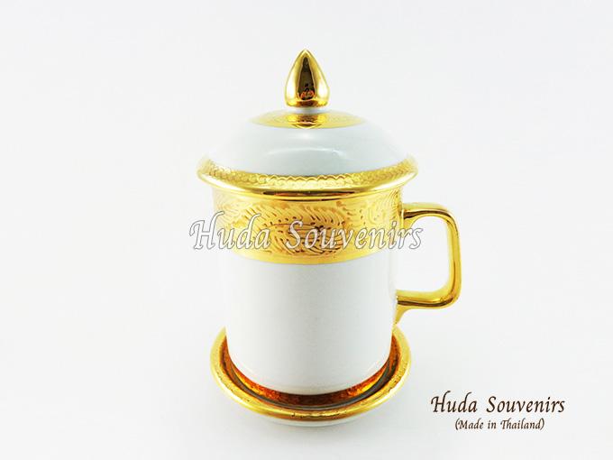 ของที่ระลึก แก้วมัคเบญจรงค์ ลวดลายเบญจรงค์ทอง สินค้าพร้อมส่ง (ราคาไม่รวมกล่อง)