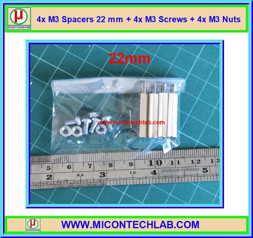 4x M3 Spacers 22 mm + 4x M3 Screws + 4x M3 Nuts (เสารองพีซีบีแบบปลายผู้เมีย 22 มม)