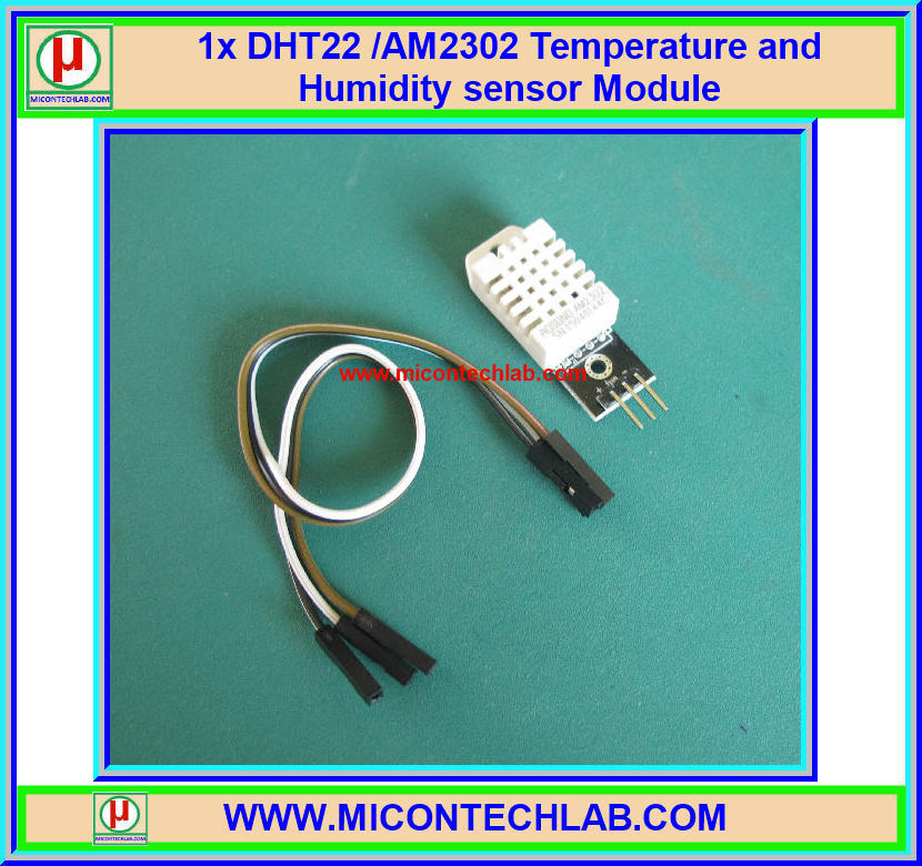 1x แผงเซ็นเซอร์อุณหภูมิ ความชื้น DHT22 /AM2302 (Temperature Humidity Sensor)