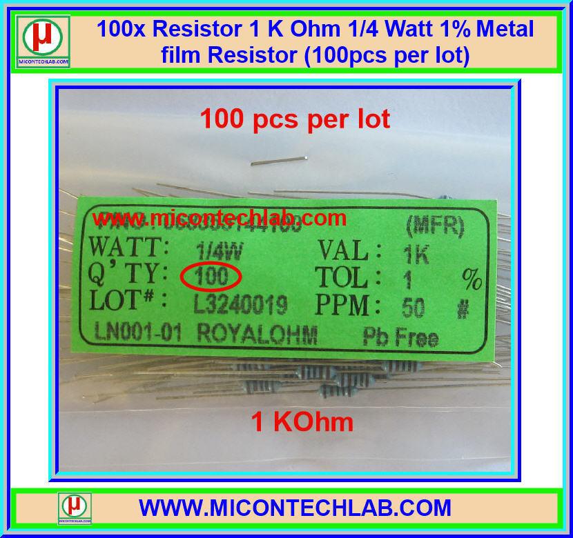 100x Resistor 1 Kohm 1/4 Watt 1% Metal film Resistor (100pcs per lot)