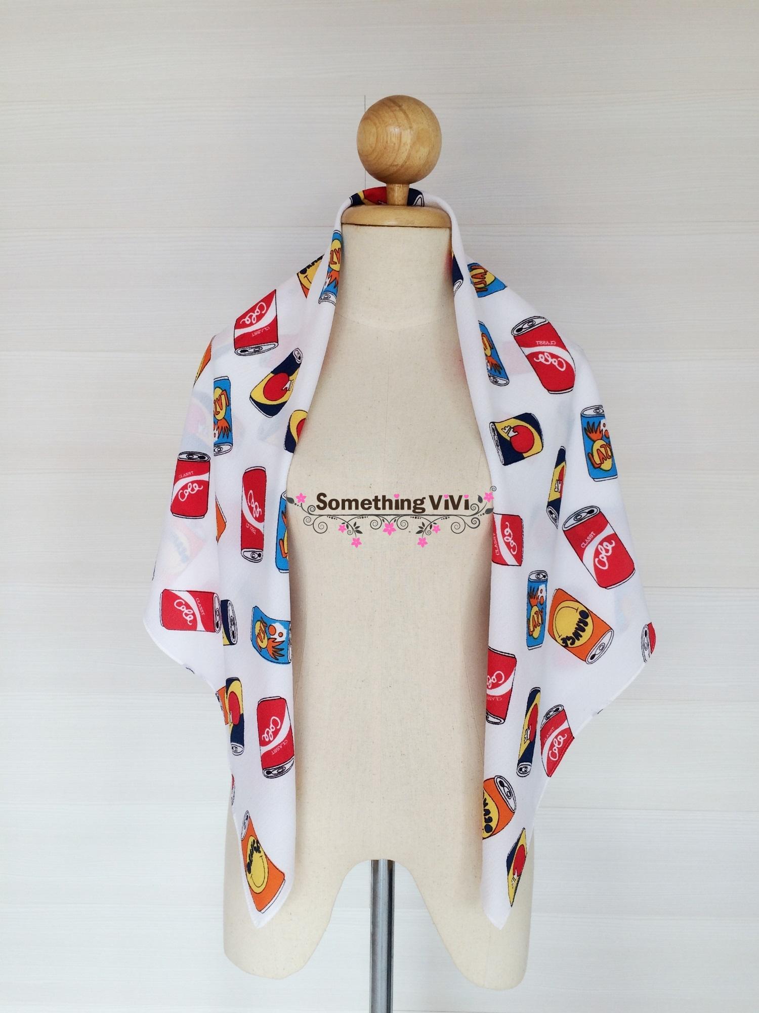 ผ้าพันคอ/ผ้าคลุมไหล่/ผ้าคลุมให้นม รุ่น Soda Lover (Size L) สี Creme Soda ว้าวผ้าพันคอลายกระป๋อง เท่มาก สำหรับคนที่เท่ๆ มีสไตล์ ไม่ซ้ำแบบใคร เป็นผ้าที่อัดไปด้วยกระป๋องเต็มไปหมด ทำให้เห็นคุณค่าและความสำคัญของกระป๋องมากขึ้น ดูมีประโยชน์มากมายเลยทีเดียว เท่มา