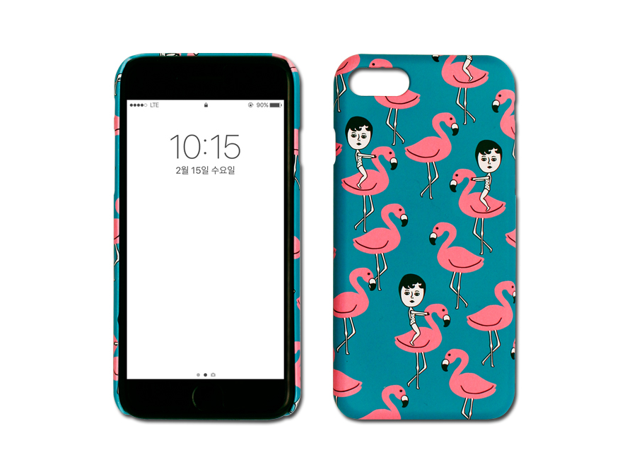 AURORE AND PINK FLAMINGO IPHONE 7 SNAP CASE