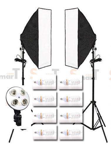 4 Holder (พร้อมหลอด) Light Set Promotion1 Day light Lamp E27 Bulb With Softbox
