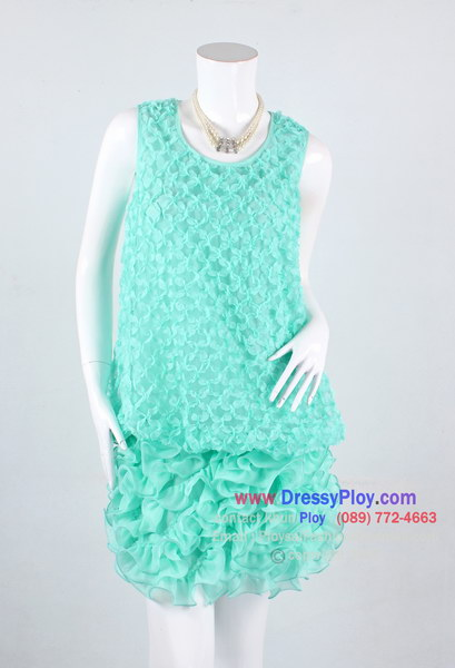 ao288- ชุดไปงานแขนกุด ผ้าซีฟองสีเขียวหวานๆ จับผ้าเป็นดอกทั้งตัว ช่วงชายระบายพริ้วๆ สวยหวานๆหรูสุดๆเลยค่ะ