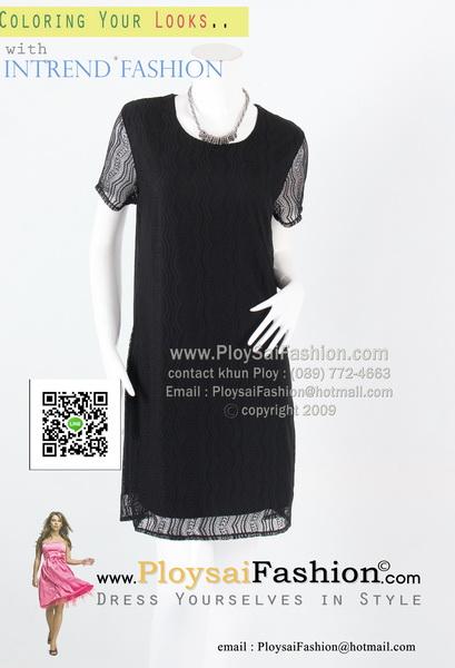 bw277 - เดรสผ้าลูกไม้สีดำ แขนสั้น สวยเรียบร้อยค่ะ