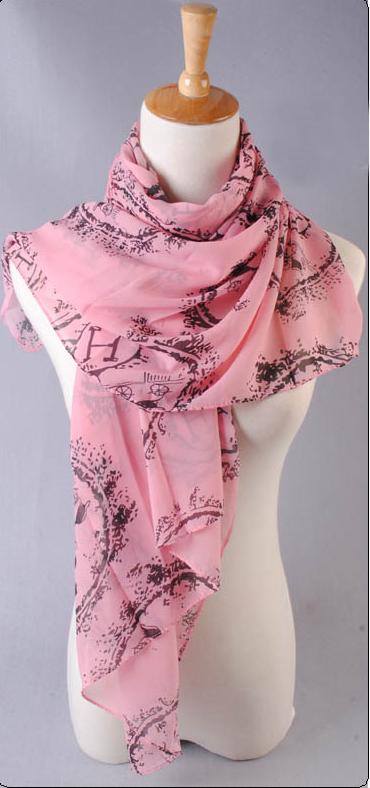 ผ้าพันคอผ้าชีฟอง ตัวอักษร H สีชมพู