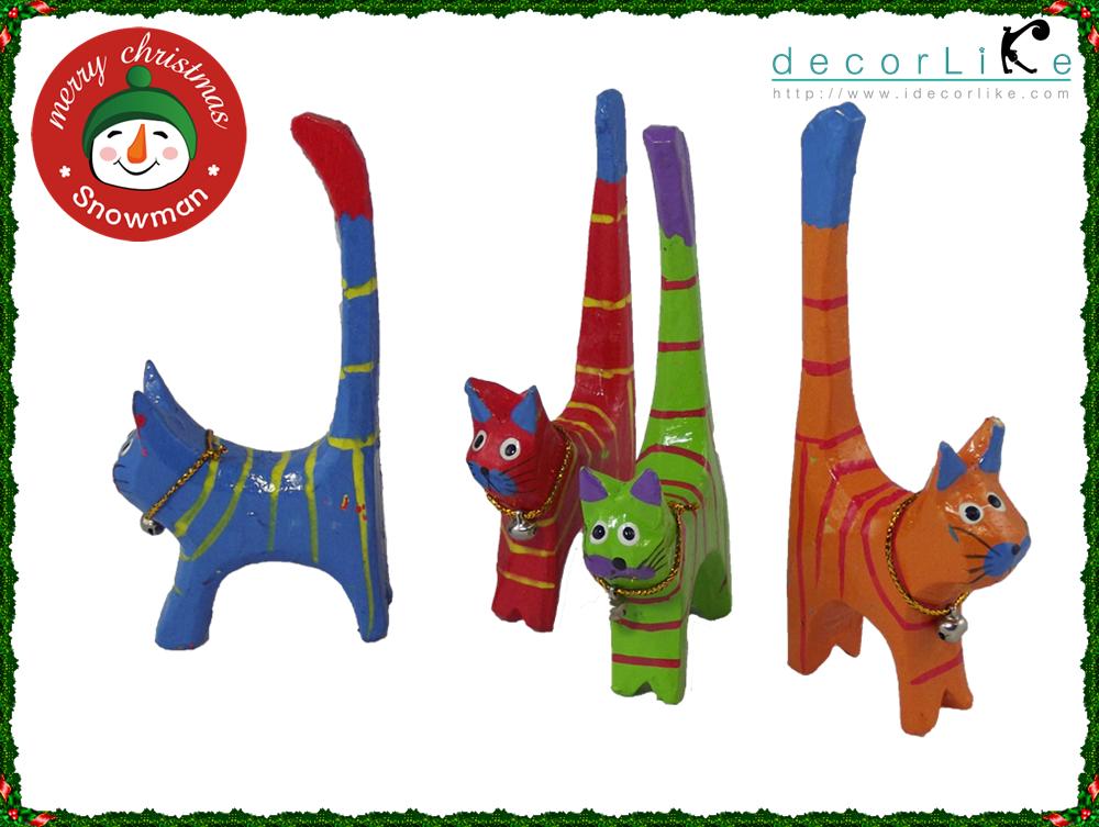 ตุ๊กตาแมวไม้สำหรับสวมแหวน (ชุดมี 4 ตัว)