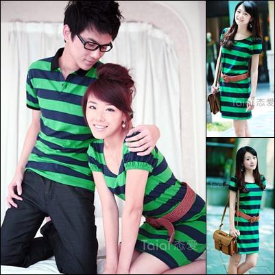 พร้อมส่ง-เสื้อคู่รักแฟชั่น ผ้าฝ้าย สีเขียวลายขวาง น่ารักๆ**ราคาขายเป็นคู่**