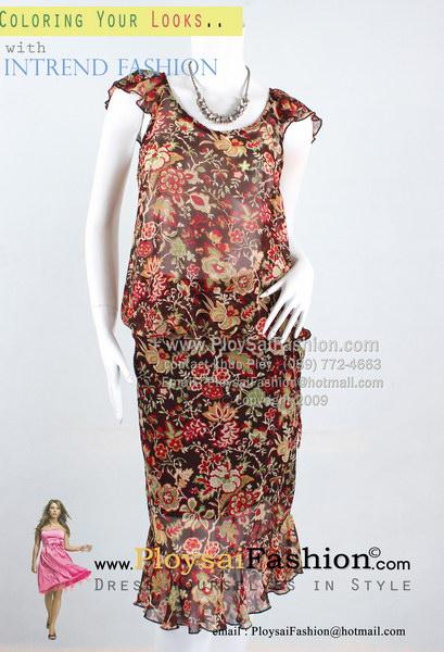 pd2704 - ชุดเสื้อกระโปรงแยกชิ้น ผ้าซีฟองซีทรูสีน้ำตาลพิมพ์ลายดอกแดง แขน+ชายแต่งระบาย ซับในช่วงกระโปรง สวยสุดๆเลยค่ะ