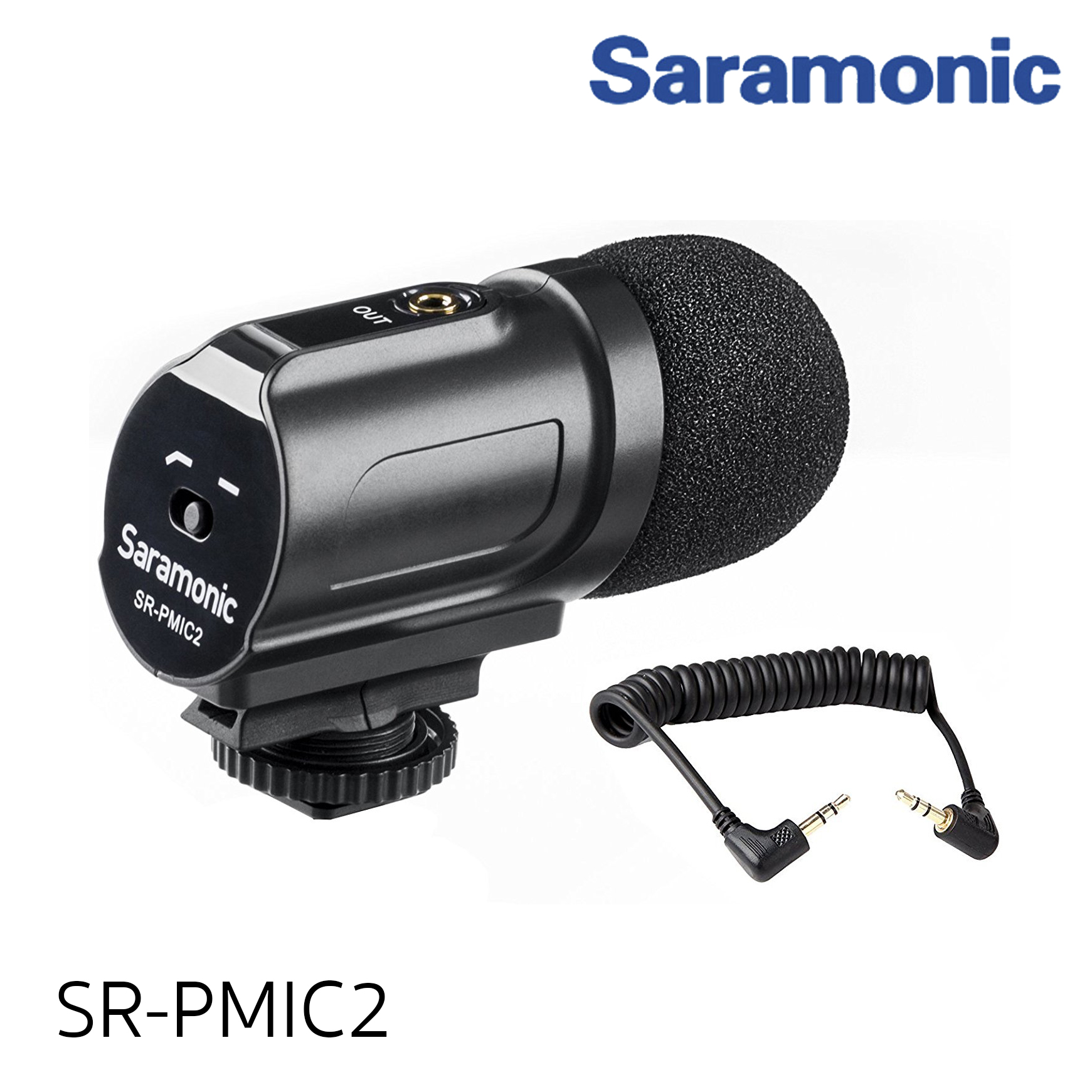 Saramonic SR-PMIC2 Mini Stereo Condenser Microphone with Integrated Shockmount, Low-Cut Filter & Battery-Free Operation for DSLR Cameras & Camcorders