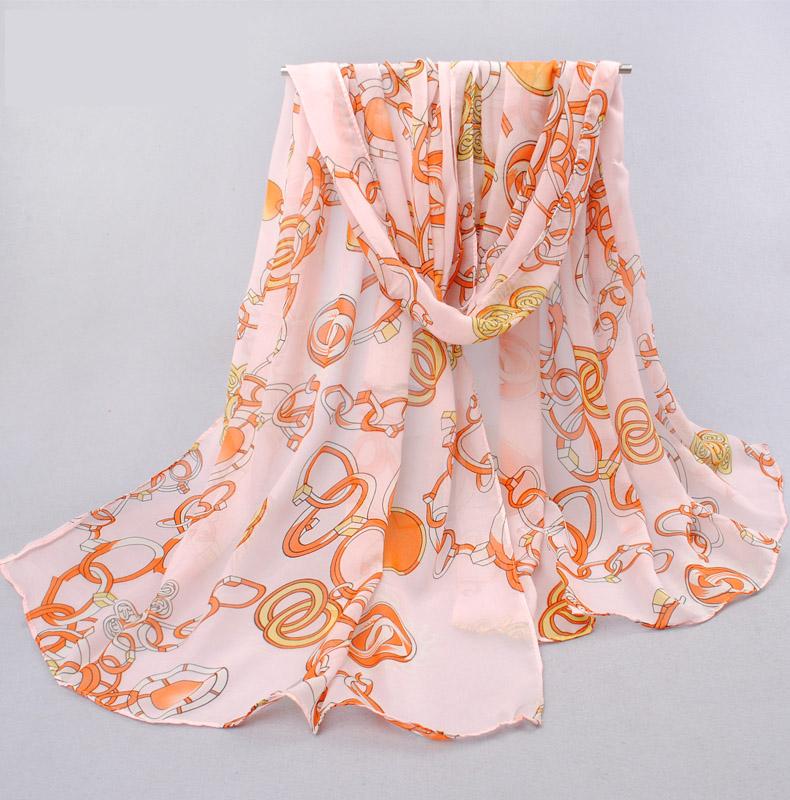 ผ้าพันคอชีฟอง สีส้มลายโซ่