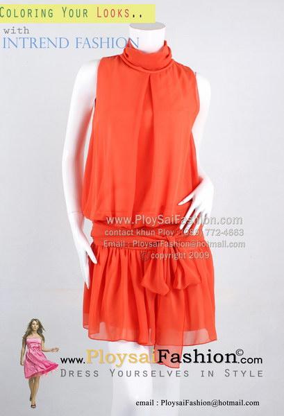hd1363 - ชุดเดรสคอเต่า(สำหรับสาวตัวเล็ก) ผ้าซีฟองสีส้ม ดีไซน์คอเต่า ผูกแต่งโบว์ช่วงเอว ซับในทั้งตัว สวยๆน่ารักๆค่ะ