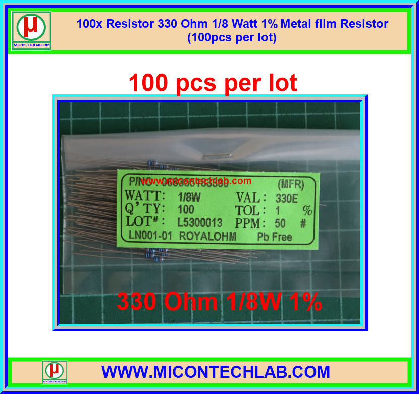 100x Resistor 330 Ohm 1/8 Watt 1% Metal film Resistor (100pcs per lot)