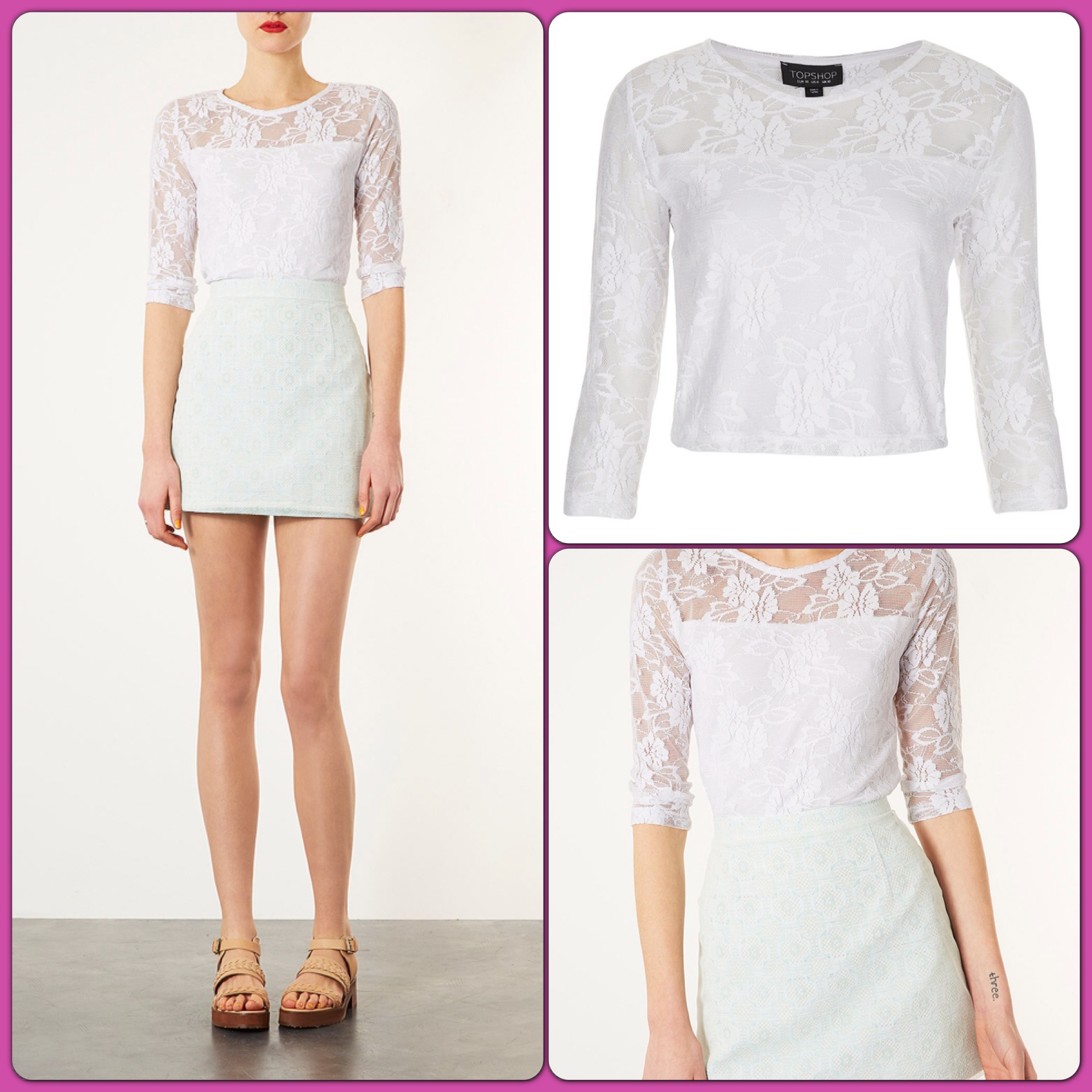 Topshop Lace Top Size uk8-10